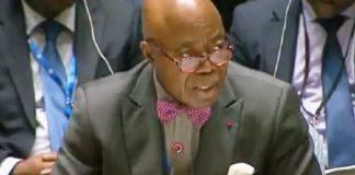 Bernard Tanoh-Boutchoué, lors de son dernier discours au conseil de sécurité de l'Onu