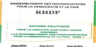 Les responsables du RHDP ont signé l'accord politique en vue de la création d'un parti unifié