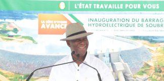 Alassane Ouattara lors de l'inauguration du barrage de Soubré