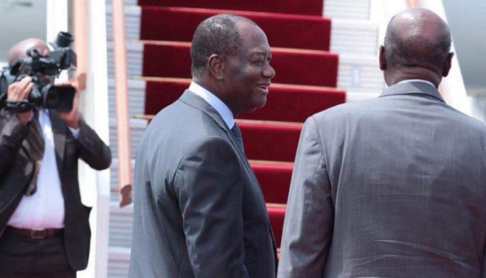 Alassane Ouattara quittant la Côte d'Ivoire le 9 juin 2018