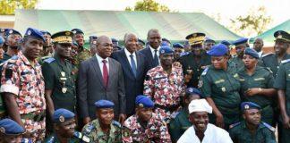 Le premier ministre Amadou Gon Coulibaly et les ministres Hamed Bakayoko et Issa Coulibaly, à l'inauguration d'une cuisine à Korhogo