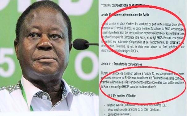 Henri Konan Bédié ne dit pas toute la vérité à ses militants à propos du Parti unifié RHDP