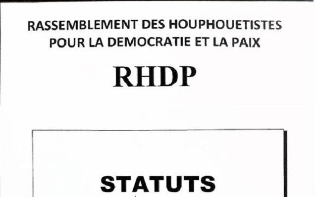 Les Statuts cachés du Parti unifiés RHDP