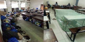 A l'université de Cocody, certains amphithéâtres sont transformés en dortoir la nuit