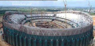Etat d'avancement des travaux du stade olympique d'Ebimpé