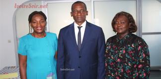 Christine Konan en compagnie de Issiaka Sangaré et de Laure Anédié après la passation de charge du mercredi 27 mars 2019