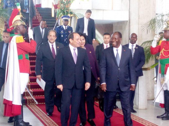 Abdel Fattah Al-Sissi et Alassane Ouattara au palais présidentiel à Abidjan, ce jeudi 12 avril 2019