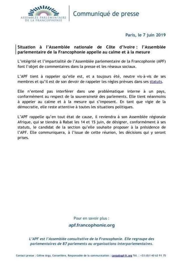 Situation à l'Assemblée Nationale de Côte d'Ivoire: L'Assemblée parlementaire de la Francophonie appel au calme et à la mesure