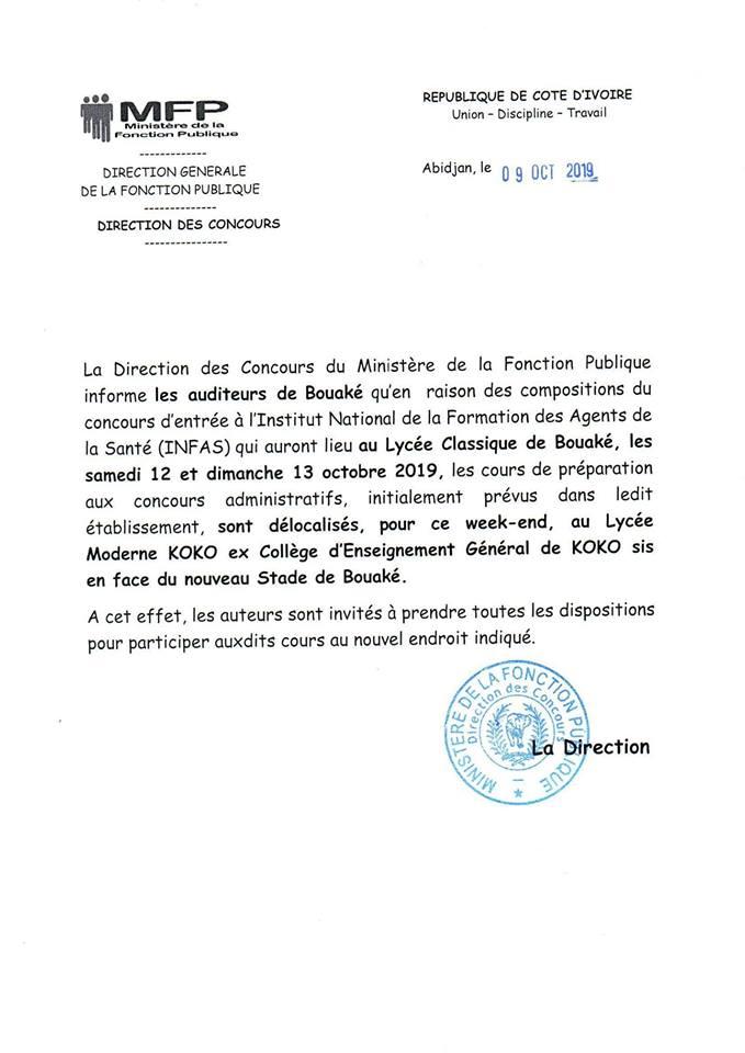 Bouaké: délocalisation des cours de préparation aux concours administratifs 2019