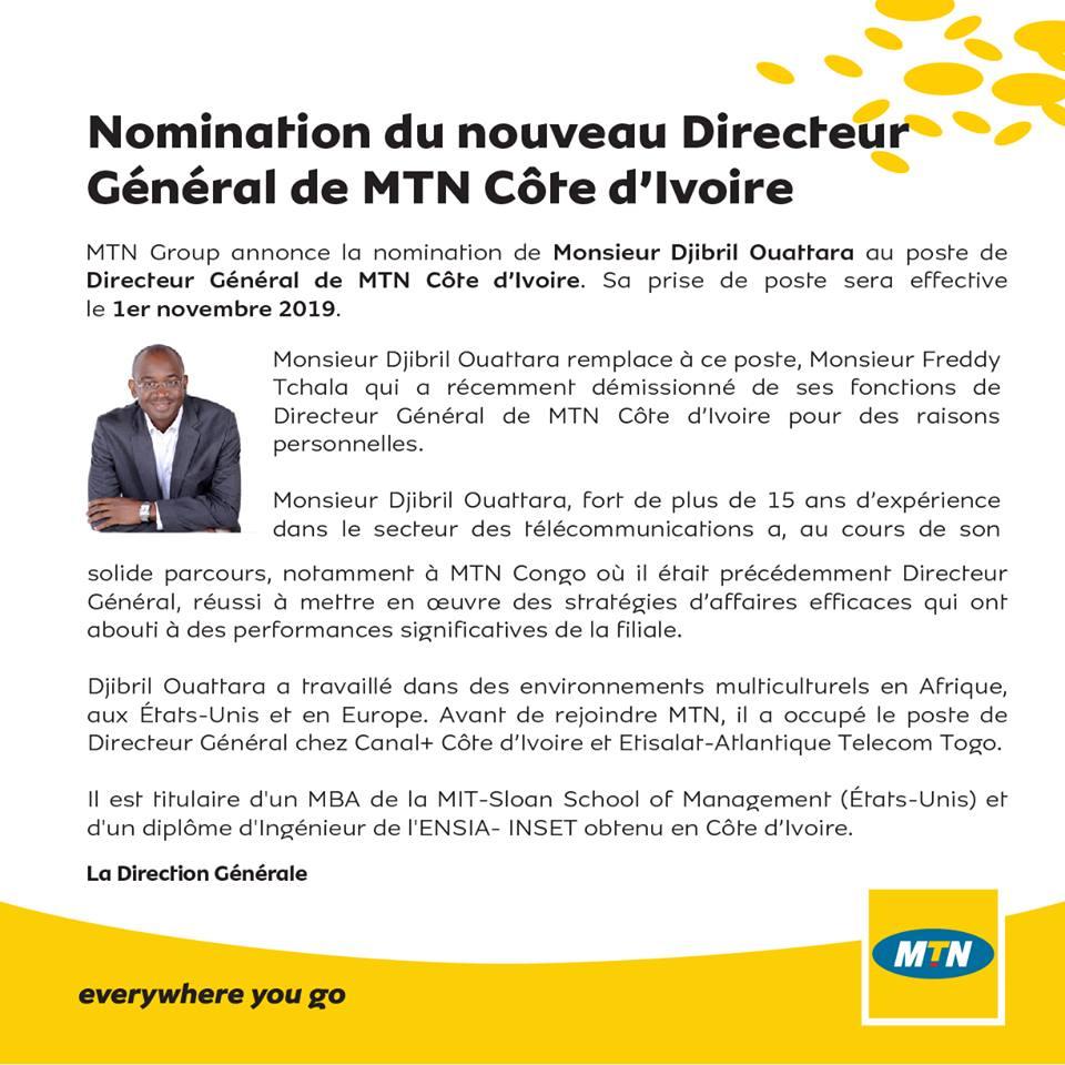 Djibril Ouattara, nouveau DG de MTN CI