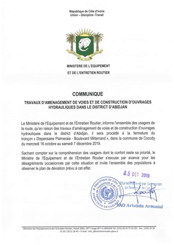 """Cocody: Fermeture du tronçon """"dispensaire de la Palmeraie-Boulevard Mitterrand"""""""