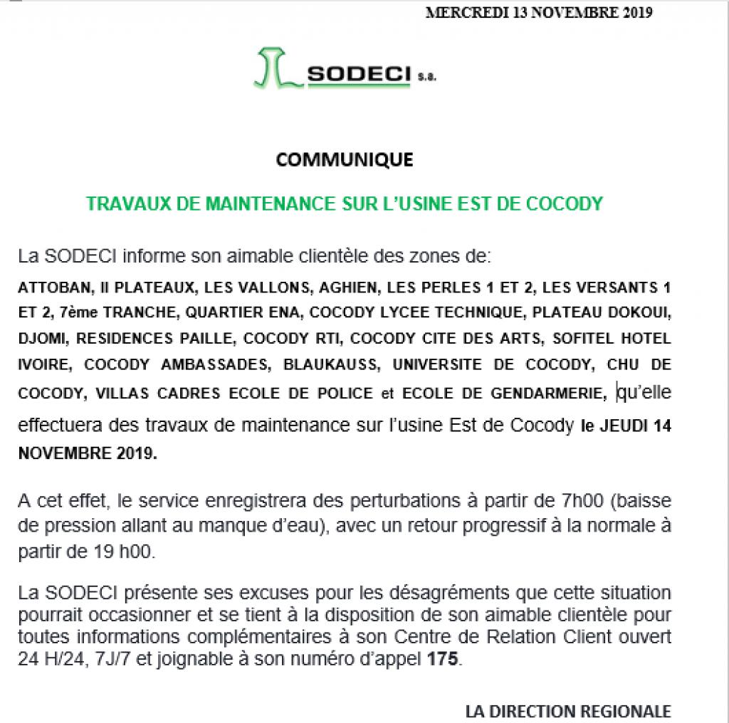 Coupure d'eau à Abidjan ce jeudi 14 novembre 2019