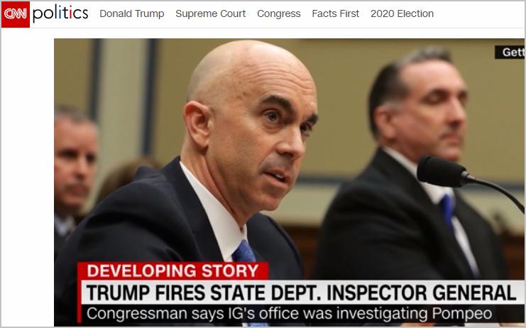 USA-Trump limoge un inspecteur du département d'Etat enquêtant sur Pompeo