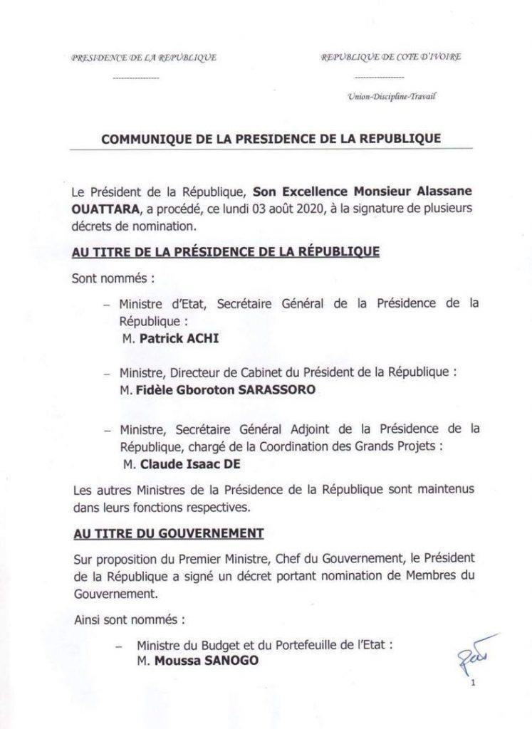Côte d'Ivoire: Alassane Ouattara procède à un remaniement technique du gouvernement - Bénin Web TV